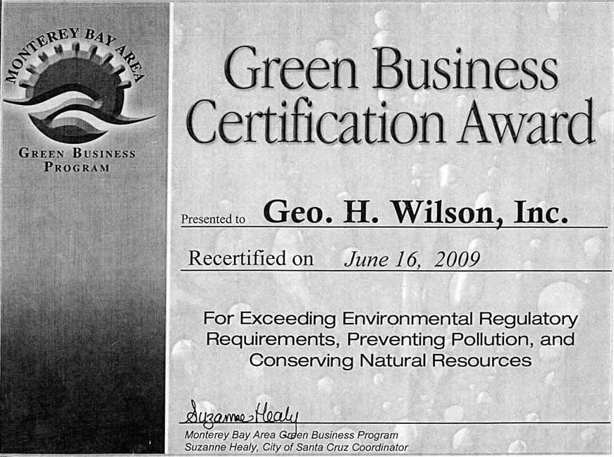 Green Business Certification Award